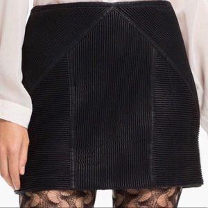 Free People Black Ribbed Vegan Faux Leather Skirt